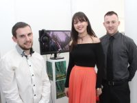 Lorcan O'Connor, Aisling O'Connell and Cian Shiels  at the ITT Creative Media Department Horizon Exhibit at the Education Centre on Thursday. Photo by Dermot Crean