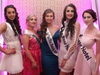 Contestants Megan Buckley Heelan, Sandra Fleming, Carol Ní Liathain, Shannon Ní Dhálaigh and Emma O'Connor at the Miss Kerry 2017 contest in The Brehon Hotel on Friday night. Photo by Dermot Crean