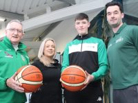 Dáire Kennelly (second left) with Coach Jimmy Diggins of Tralee Imperials, teacher and assistant coach Lyndsey  Moriarty and teacher and coach John Dowling. Photo by Dermot Crean
