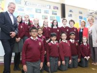 The Hungarian Ambassador, István Pálffy with his wife Judit Poph (second from right), Principal of Moyderwell Mercy Moira Quinlan and pupils on his visit to the school on Wednesday. Photo by Dermot Crean