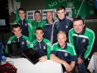 Members of Na Gael GAA Club Trakee who play with Kerry Minor,Senior and Under 21  who launche the Na Gael GAA Club Wed Page on Saturday at the Bank of Ireland Expo at Tralee Sport & Leisure Complex. also in pic are Morgan Sheehy (Chairman, Denis Moriarty