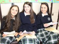 Leona Stack, Aine Falvey and Laura O'Connell open their 'Time Capsule' letters at the Presentation Secondary School graduation on Friday afternoon. Photo by Dermot Crean