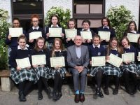 Presentation Secondary School TY students who received certificates to mark their involvement in the Children's Liturgy Programme at Our Lady and St Brendan's Church. Also included are teachers Norma Foley, Sheila O'Connell and Fr Patsy Lynch of St Brendan's. Photo by Dermot Crean