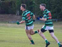 St Brendan's Ivan Parker celebrates his second half goal with Diarmuid Herlihy (right).  Photo by Dermot  Crean