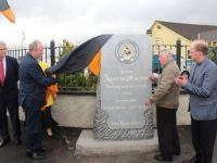 Cllr Jim Finucane helps unveil the new monument outside Austin Stacks GAA club grounds at Connolly Park on Monday evening. Photo by Dermot Crean