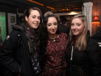 Kayleigh Hennessy (centre) who was auditioning for The Voice UK in The Blasket on Monday night with friends Ciara O'Sullivan and Rachel Tooher. Photo by Dermot Crean