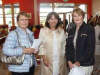 Mary O'Sullivan, Judy Costello, and Mairead O'Sullivan at the Summer Soiree of Art at Baile Mhuire Day Care Centre on Thursday. Photo by Lisa O'Mahony.