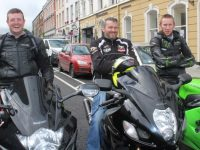 Guy Martin, Richard Doyle and Brendan O'Grady of Kingdom Knights MCC  taking part in the Tralee Rotary Club and Da Jokerz MCC Poker Run from The Imperial Hotel on Saturday afternoon. Photo by Dermot Crean