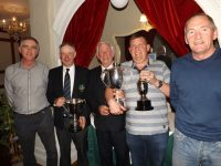 Castlegregory Golf Club Captain, Tommy King (centre) at the presentation of the Captain's Prize in the Station House, Blennerville, on Sunday night. From left: Aidan Smith (3rd), President Eddie Hanafin (2nd and Past Captain's winner), Alan O'Connor (1st) and Noel McCoy (Front 9).