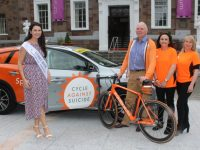 The Kerry Rose, Breda O'Mahony, with Barry Heffernan, Clodagh Moynihan and Mags O'Halloran at the launch of the Cycle Against Suicide Spinoff on Monday. Photo by Lisa O'Mahony.