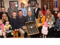 The extended family of the late Danno Keeffe at Kerins O'Rahillys Clubhouse on Friday night. In front; Grainne Kennedy holding Emma and Zara Kennedy, Ogie O'Keeffe, Paudie O'Keeffe, Donal O'Keeffe, Brian O'Keeffe, Danielle Harcksen, Barbara O'Callaghan holding Aurelia O'Callaghan and Lucy Kennedy and Tadhg O'Keeffe. At back; Ciaran O'Keeffe, Henry Harcksen, Donie O'Keeffe, Mary O'Keeffe and Helen O'Keeffe. Photo by Dermot Crean