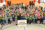 Former pupils who are currently members of Kerry GAA panels on a visit to Gaelscoil Mhic Easmainn on Friday. Photo by Dermot Crean