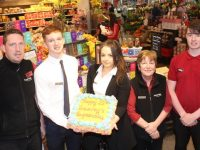 Garvey's Supervalu Tralee staff celebrating the store's 25th birthday on Saturday. Included are John O'Connell, Joseph Hayes, Helen Griffin, Patricia Claffey and David Barrett. Photo by Dermot Crean