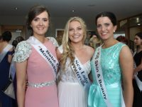 Contestants Siobhan Bustin, Sarah Louise O'Connell and Cliona Daly at the Kerry Rose 2017 selection at the Ballyroe Heights Hotel on Friday night. Photo by Dermot Crean
