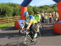 Jimmy Deenihan at the start of the Pedal In The Park event from Tralee Bay Wetlands on Friday evening. Photo by Dermot Crean
