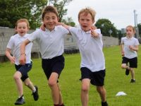 Pupils enjoying Active Schools Week at Spa NS on Thursday. Photo by Dermot Crean