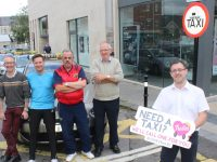 Taxi drivers Pat O'Carroll, Philip Beirne, Joe Flaherty and Tim Hallissey with Tralee Chamber Alliance President John Drummey promoting the new 'Need A TAXI' initiative by local traders. Photo by Dermot Crean