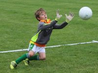 About to make a great save at the Na Gaeil Cúl Camp on Friday. Photo by Dermot Crean