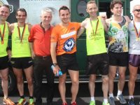 Shane Finn (centre) with another well-known runner Stephen Griffin (third left) and men who ran with Shane today, Tommy Commane, Vinny O'Leary, Ollie O'Sullivan, Louis Courtney and Darragh Droog at O'Shea's Gala in Blennerville. Photo by Dermot Crean