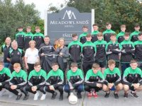 The presentation of training gear from The Meadowlands Hotel to the St Brendan's Minor Footballers at the hotel on Thursday. Photo by Dermot Crean