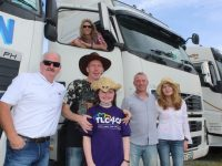 Eamon Morrissey, Maggie Morrissey (in truck), Noel and Rachel Prendiville, John McCarthy and Maura Riordan at the Kerry Rose Truck Run in aid of TLC4CF on Saturday morning. Photo by Dermot Crean