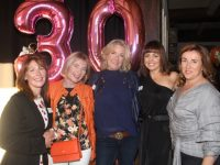 Clodagh O'Dowd, Helen Murphy, Moira Keane, Kay Lynch and Maria Godley at the Class of 1987 Balloonagh Secondary School Reunion in The Ashe Hotel on Saturday night. Photo by Dermot Crean