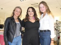 Sinead Kavanagh (centre) with Jane Doyle and Rebecca Hyland at her make-up masterclass in CH Chemists on Saturday. Photo by Dermot Crean