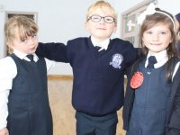 Clodagh, Jayden and Katie on their first day at St Brendan's NS Blennerville on Wednesday morning. Photo by Dermot Crean