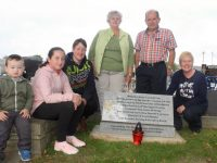Callen, Nisha and Diana Cronin,  Phyllis Maher, Liam Maher and Catriona O'Connor at the unveiling of a memorial at Rath Cemetery to babies who died before, during or after childbirth. Photo by Dermot Crean