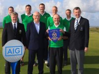 Tralee Team winners of the Munster Final of the AIG Barton Shield at Tralee Golf Club, Tralee, Co Kerry. 12/08/2017  Back Row: Fergal O'Sullivan, Eoghan O'Donnell, Graham Spring, Darren O'Sullivan and Ger Deegan Front Row:John Teen (Club Captain), Philip Coburn (AIG), Paul Hughes (Team Manager) and Jim Long (Cahirman Munster Golf GUI).  Picture: Golffile | Thos Caffrey  All photo usage must carry mandatory copyright credit     (© Golffile | Thos Caffrey)