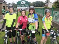 Elizabeth Koch, Angela Moloney, Joan Hill and Mairead O'Carroll before the start of the Na Gaeil GAA Club Cycle on Saturday morning. Photo by Dermot Crean