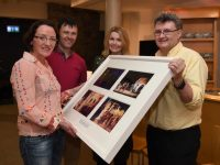 Noírín Lynch accepting a presentation of photography of special moments of Noírín performing with the National Folk Theatre. On behalf of all the board members and staff at Siamsa Tíre, the presentation was made by (L-R) Artistic Director Jonathan Kelliher; Anne O'Donnell, Training & Development Officer & Joe Leonard, outgoing Chair of Siamsa Tíre.