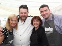 Radio Kerry's Deirdre Walsh, chefs Noel Keane and Caroline Danahaer and Minister Brendan Griffin at the Taste Kerry event in the Dome on Saturday. Photo by Dermot Crean