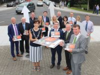Minister of State for Housing and Urban Renewal, Damien English T.D. (front second from left) launching the Tralee Town Centre Health Check report with, front from left; Mayor Of Tralee, Norma Foley, Director of Services at Kerry County Council, Michael Scannell and Mayor of Kerry, John Sheahan. Included at back are, Cllr Sam Locke, Senator Paul Coughlan, TJ O'Mahony, Kerry County Council, Noreen O'Mahony, Kerry County Council, Minister Brendan Griffin, Alison Harvey, Heritage Council, Kieran Ruttledge, Tralee Chamber Alliance, Emma Collins (graphic designer), Darren Burke, Kerry County Council, Martha Farrell, IT Tralee, Declan O'Malley, Kerry County Council. Photo by Dermot Crean