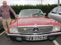 Vincent Dowling and his 1974  Mercedes at the Ballymac Vintage Run from O Riada's on Friday.  Photo by Dermot Crean