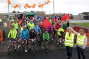 Participants at the start of the Ardfert Harvest Cycle on Saturday morning. Photo by Dermot Crean