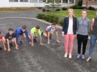 CBS The Green students, Adam Walker, Darragh Sweeney, Armin Heinrich, TJ Heaphy and David Kelliher on their marks, with teacher Caroline Dillane, athlete Shona Heaslip and teacher Helen Kelliher launching the CBS 5k Run at the school on Thursday. Photo by Dermot Crean