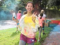 Having fun during the charity Colour Run on Sunday morning. Photo by Dermot Crean