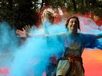 Lay it on me!..Runners during the charity Colour Run on Sunday morning. Photo by Dermot Crean