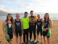 Tralee Triathlon Club's athletes who will be representing Ireland at the ITU World Championships in Rotterdam next week. From left; Ciara Tierney, Paudie Murphy, Philip Dewey (quiz organiser), chairman of Tralee Triathlon club John Quilter, Seamus Hoare and Suzanne O'Sullivan.