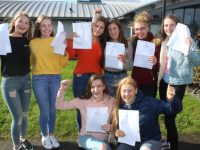 Mercy Mounthawk students, in front; Lisa Costello and Ellie McElligott. At back; Alison Guerin, Clodagh Kirby, Sarah Healy, Niamh Ryan, Maeve McElligott and Rebecca Conway with their Junior Certificate results on Wednesday morning. Photo by Dermot Crean