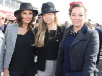 Eimear O'Mahony, Geraldine O'Mahony and Bríd Walsh at the McElligotts Honda Ladies Day at Listowel Races on Friday. Photo by Dermot Crean