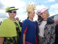 Diane Jeffers, Nollaig McCarthy and Margaret Hynes Cahill at the McElligotts Honda Ladies Day at Listowel Races on Friday. Photo by Dermot Crean