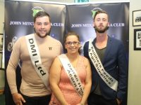 Peter Murphy (DML Ltd), Louise Morrisson (Darren O'Hanlon of Acorn Life) and Maurice Quilter (Kelliher's Feeds and Agri Suppliers) whose dancing partners were missing at the launch,  are participating in the second John Mitchels Strictly Come Dancing event. Photo by Dermot Crean