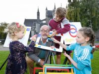 NO REPRO FEE 21/09/2017 Sightsavers Junior Painter Awards 2018. Laureate na nÓg and children's book illustrator PJ Lynch pictured with Pippa Smullen (age 4, Naas, Kildare), Sally White (age 10, Rathfarnham, Dublin) and Finn McLoughlin, (age 11, Castleknock, Dublin) at the launch of Sightsavers Junior Painter Awards 2018. The competition is open to primary school students of all ages and this year's theme, 'Put Us In The Picture', is expected to inspire thousands of thoughtful and imaginative entries. Photograph: Sasko Lazarov / Photocall Ireland