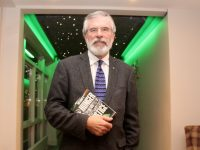 Gerry Adams arrives at the launch of 'Ireland's Hunger for Justice' at The Rose Hotel on Thursday night. Photo by Dermot Crean