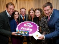 10/10/2017 NO REPRO,  MAXWELLS DUBLIN Feast your imagination, not your eyes with Dine in the Dark from the National Council for the Blind. Pic shows ( l to r ) David O'Flynn, Dawn Meats, Cathleen Doohen, CSR Manager, Fujitsu, Chris White, NCBI, CEO, Doreen Curran, Franchise Head Ophthalmology, Novartis, Jenny Coppins, Novartis and Adrian Cummins, RAI. The National Council for the Blind of Ireland (NCBI) launched its second annual national Dine in the Dark week at an exclusive event in The Dylan Hotel. From 5th – 12th November, restaurants all over the country will Dine in the Dark to raise vital funds for life-changing sight loss services in Ireland. We engage all of our senses when we eat – taste, smell, sight, hearing and touch. So what happens when we eliminate one of them? Not only is taste heightened, but how we communicate with each other changes when we can't rely on visual cues and the sounds around us take on new meaning. By wearing blindfolds, Dine in the Dark customers have a truly immersive experience, as normal barriers collapse and guests begin to feast their imagination, not their eyes.  For more information please contact Róisín Maxwell on roisin.maxwell@ncbi.ie, 01 2710121/ 085 7628536.  PIC: NO FEE, MAXWELLPHOTOGRAPHY.IE