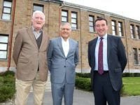 Former teacher Michael Laide with former pupils Ger Power and Paschal Sheehy at the CBS The Green 90th anniversary celebrations at the school on Friday. Photo by Dermot Crean