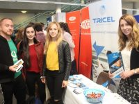 Ciara Tierney (right) from Tricel talking to Darren Holly, Elsa Cenaj and Dona Bunjaku at the IT Tralee Careers Fair on Wednesday. Photo by Dermot Crean