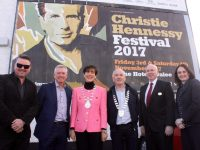 Launching the Christie Hennessy Festival 2017 at the large billboard on Pembroke Street were Mark Leen; CEO of Tralee Chamber Alliance Kieran Ruttledge; Mayor of Tralee Norma Foley; President of Tralee Chamber Alliance Aidan Kelly; General Manager of The Ashe Hotel Stephen O'Connell and Suzanne Ennis of Tralee Credit Union (sponsor). Photo by Dermot Crean